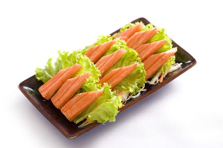 imitation crab meat on white, japanese food Stock Photo