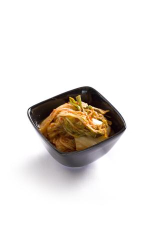 close up food: Kimchi (Korean food) close up on white background