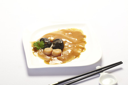 abalone,shark fin and scallop on white background,Chinese cuisine.