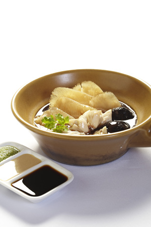 Chinese Royal sharks fin soup with crab and mushroom Stock Photo