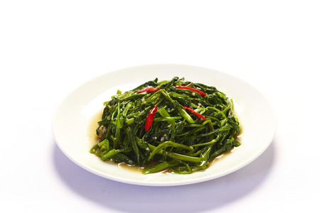 Stir Fried Water Spinach on white background Imagens