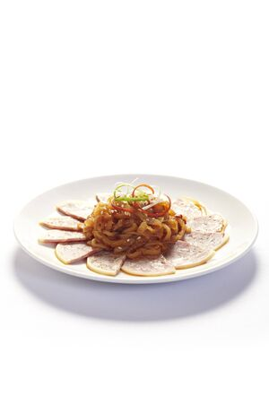 starter: Cold Chinese style starter dish in white plate
