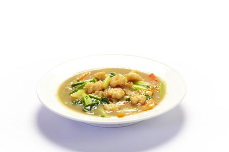 rad: Rad na fry noodle with shrimp on white background Stock Photo