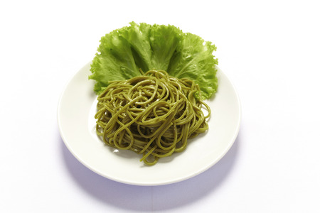 A plate of cold soba on white background