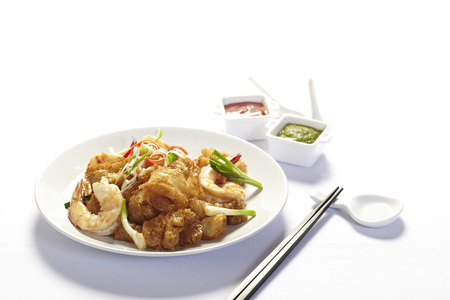 Stir fried fish maw with egg and vegetable in chinese style Stock Photo