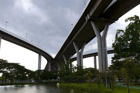 elevated: Elevated expressway. The curve of suspension bridge