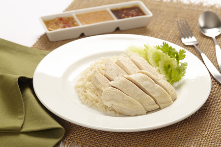 Hainanese Chicken Rice With Sauce Stock Photo Picture And Royalty Free Image Image 67669885