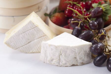 brie: brie cheese and grape Stock Photo
