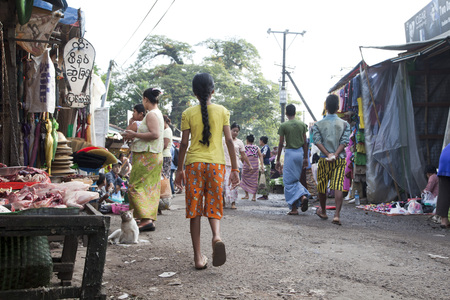 inlay: A market vendor, Myanmar
