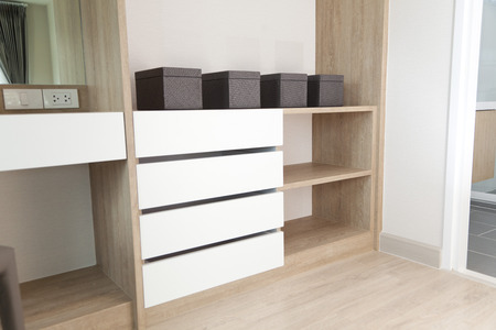 shelving: Closet with Built In Shelving and boxes