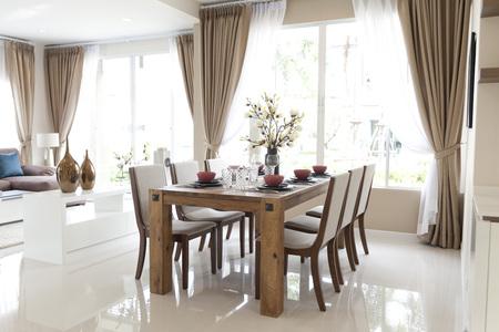 Decoratie en meubilair van de moderne eetkamer Stockfoto