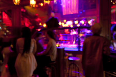showcase interiors: Blurred background � bar and restaurant at night