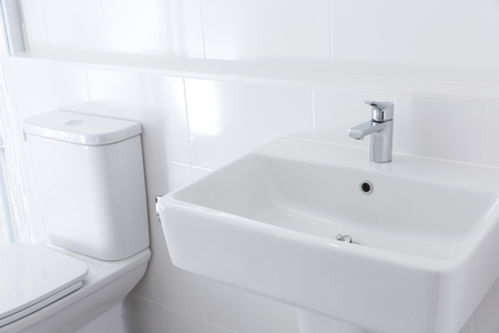 sinks: Light bathroom with sinks Stock Photo