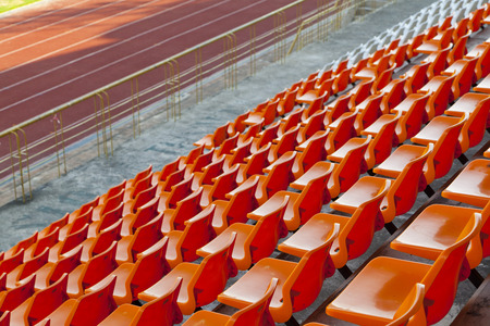 sports stadium with empty seats row Stock Photo