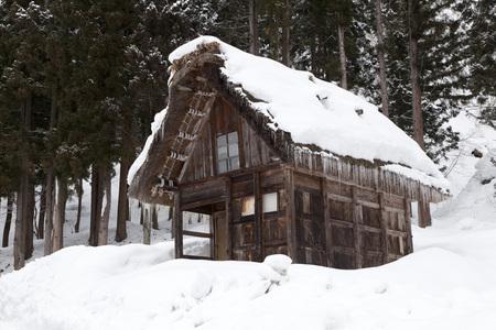 Shirakawago village with snow in winter