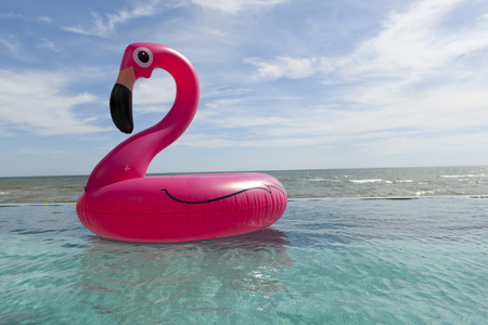 Air flamingos balloon float in the swimming pool by the sea Stock Photo