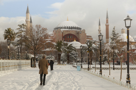 Hagia Sophia covered with first snow of season in Istanbul City, Turkey