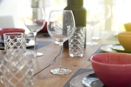plate setting on dining table at home