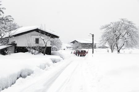 gokayama: the Shirakawa-go historic Japanese village in winter time Stock Photo