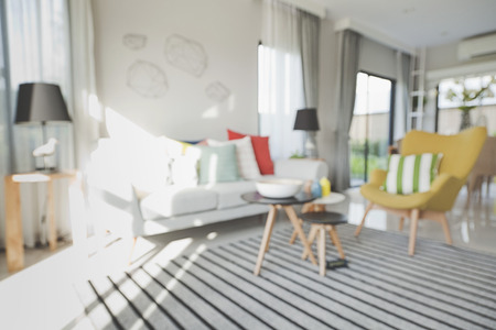Blurred Modern Living Room with Retro Filter