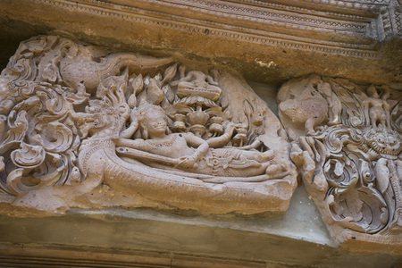 tam: details of sandstone carving at Phanomrung historical park,Burirum,Thailand