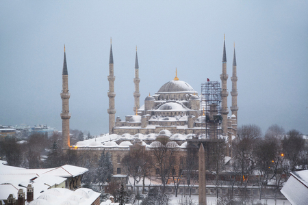 Sultan Ahmed Mosque in the snow in Istanbul, Turkey