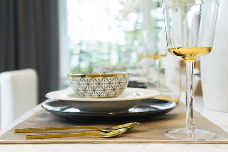 Dining Table with Plate Settings