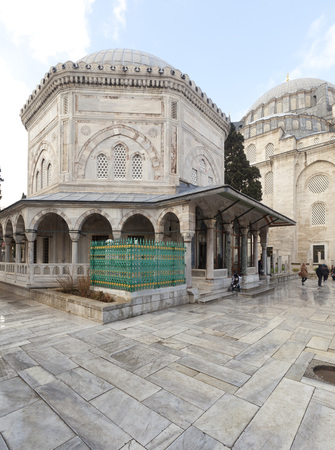 The memorial tomb of the legendary Ottoman sultan Suleiman the Magnificent in Suleymaniye mosque