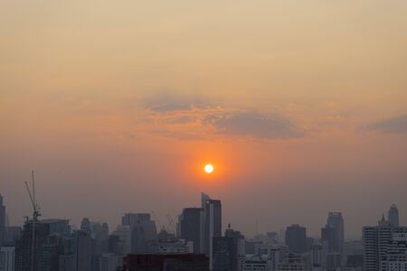 city park skyline: Bangkok skyline