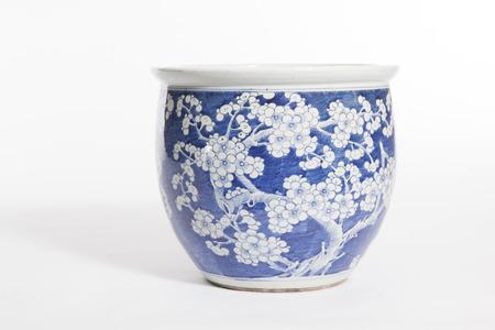 old china ceramic vase on white Stock Photo