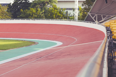 Professional beautiful cycle track. Velodrome Stock Photo - 89211068
