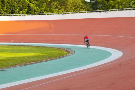 Professional beautiful cycle track. Velodrome Editorial