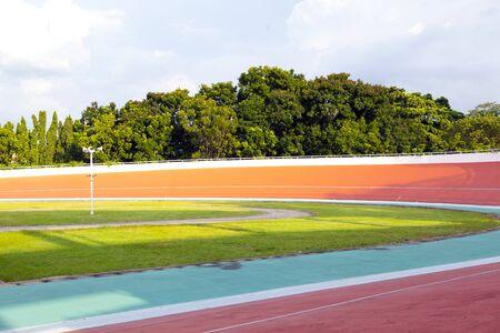 Professional beautiful cycle track. Velodrome Stock Photo
