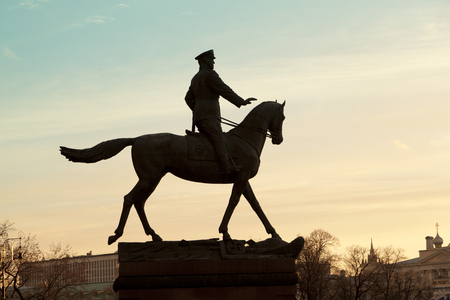 A monument to the marshal of the Soviet Union Georgy Zhukov in front of the History Museum near the Red Square. Stock Photo