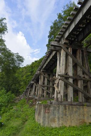 Death Railway Old railway at Hellfire Pass in Kanchanaburi, Thailand Stock Photo