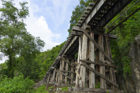Death Railway Old railway at Hellfire Pass in Kanchanaburi, Thailand Stock Photo