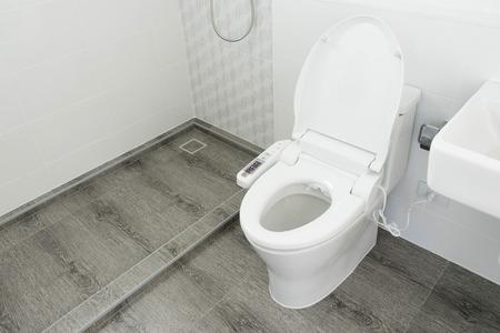 white toilet in modern home