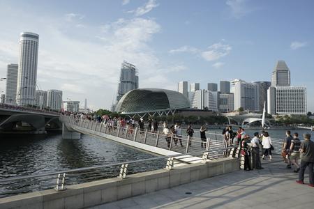 Jubilee bridge across Singapore river, link between Merlion and Esplanade Theater Editorial