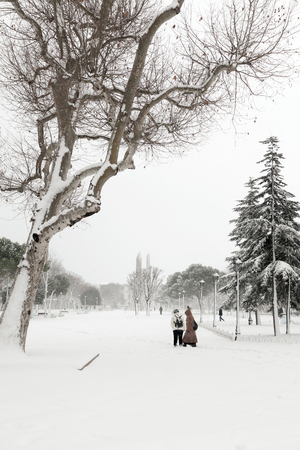 Sultanahmet Park during a snow storm in winter time in Istanbul ,Turkey