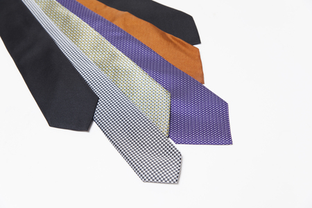 different set of luxury ties on white background
