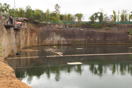 Tourists enjoy water sport at Grand Canyon in Chiang Mai,Thailand