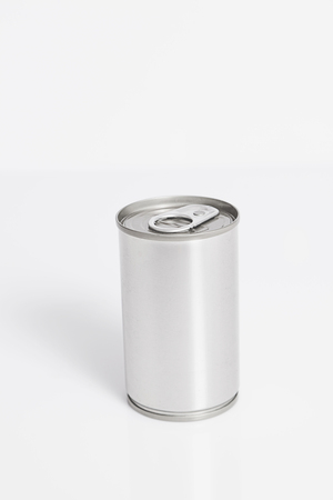 A tin food can isolated on a white background