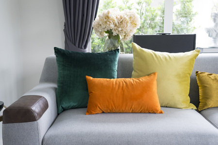 Eclectic style of living room with grey sofa and colorful pillows 免版税图像