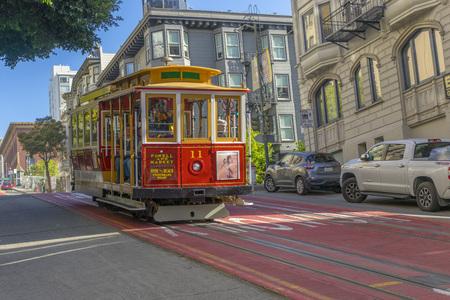 Passager à cheval sur un célèbre téléphérique de San Francisco
