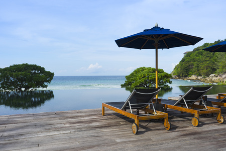 Daybed by the pool with Andaman Sea view