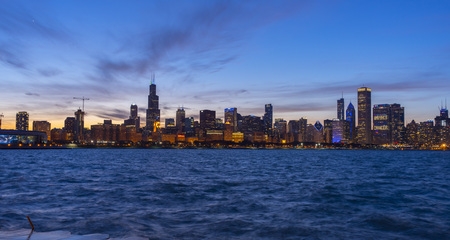 Beautiful Chicago city skyline just after sunset