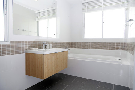 Modern white stone washbasin, White bathroom with sink Stock Photo
