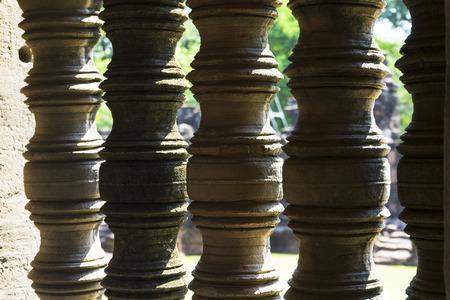 stone window inside Prasat Hin Phimai historical Park in Nakorn Ratchasima, Thailand Stok Fotoğraf