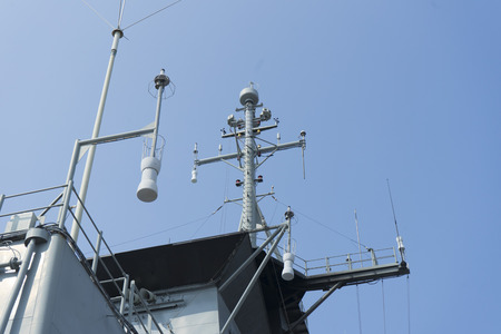 Radar at the top of the battle ship