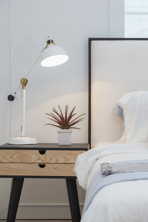 Modern home interior with bedroom setting including bedside table ,white lamp and plant pot on it.